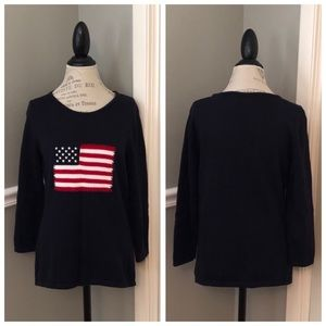 Sweaters - AMERICAN FLAG NAVY PULLOVER LIGHTWEIGHT SWEATER